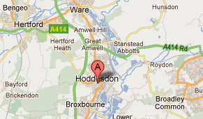 A map of Hoddesdon and surrounding areas