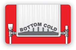 Radiator bottom cold symbol