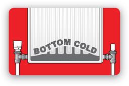 Radiator bottom cold symbol